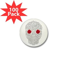 Day of the Dead Skull Mini Button (100 pack)