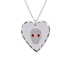 Day of the Dead Skull Necklace with Heart Pendant