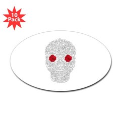 Day of the Dead Skull Oval Decal 10 pack