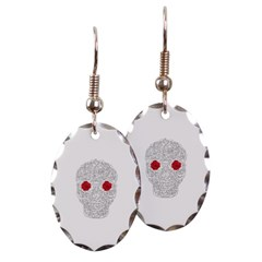 Day of the Dead Skull Oval Earrings