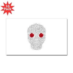 Day of the Dead Skull Rectangle Decal 10 pack