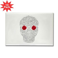 Day of the Dead Skull Rectangle Magnet (10 pack)