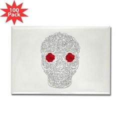 Day of the Dead Skull Rectangle Magnet (100 pack)