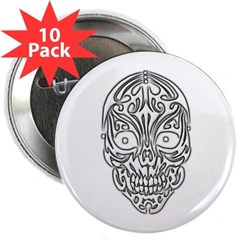 "Tribal Skull 2.25"" Button (10 pack)"
