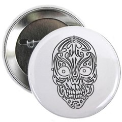 "Tribal Skull 2.25"" Button"