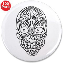 "Tribal Skull 3.5"" Button (100 pack)"
