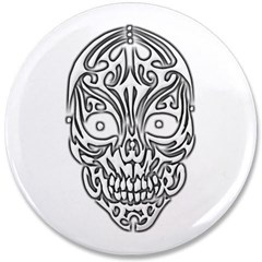 "Tribal Skull 3.5"" Button"