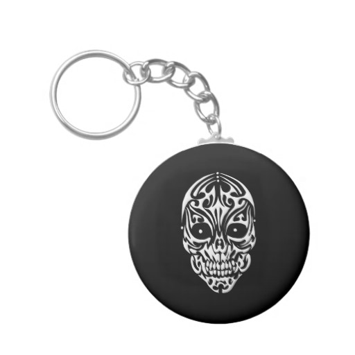 Tribal Skull Basic Button Keychain