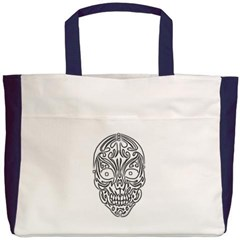 Tribal Skull Beach Tote Bag