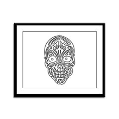 Tribal Skull Framed Panel Print
