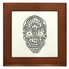 Tribal Skull Framed Tile
