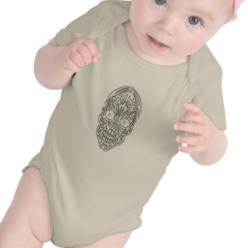 Tribal Skull Infant American Apparel Organic Creeper