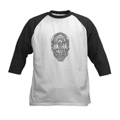 Tribal Skull Kids Baseball Jersey T-Shirt