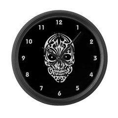 Tribal Skull Large Wall Clock