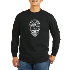 Tribal Skull Long Sleeve Dark T-Shirt