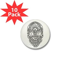 Tribal Skull Mini Button (10 pack)