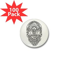 Tribal Skull Mini Button (100 pack)