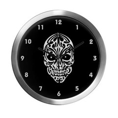 Tribal Skull Modern Wall Clock