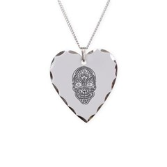 Tribal Skull Necklace with Heart Pendant