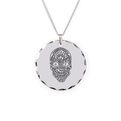 Tribal Skull Necklace with Round Pendant