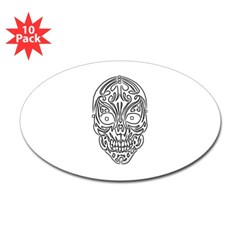 Tribal Skull Oval Decal 10 pack