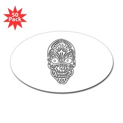 Tribal Skull Oval Decal 50 pack