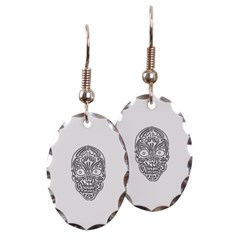 Tribal Skull Oval Earrings