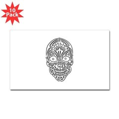 Tribal Skull Rectangle Decal 10 Pack