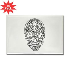 Tribal Skull Rectangle Magnet (10 pack)