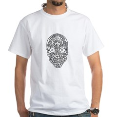 Tribal Skull White T-Shirt