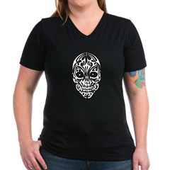 Tribal Skull Women's V-Neck Dark T-Shirt