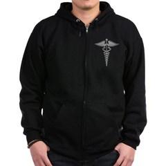 Silver Medical Symbol Dark Zip Hoodie
