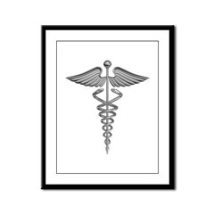 Silver Medical Symbol Framed Panel Print