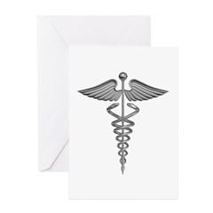 Silver Medical Symbol Greeting Cards (Pk of 20)