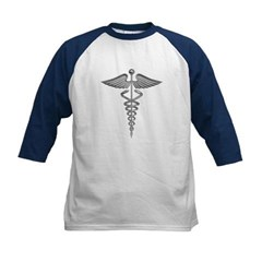 Silver Medical Symbol Kids Baseball Jersey T-Shirt