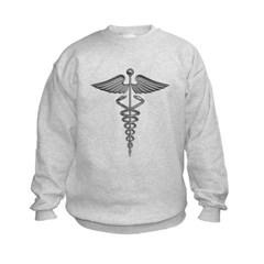 Silver Medical Symbol Kids Crewneck Sweatshirt by Hanes
