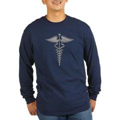 Silver Medical Symbol Long Sleeve Dark T-Shirt