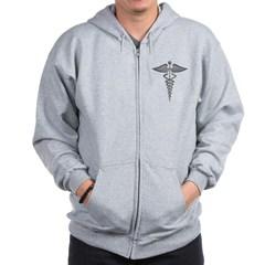 Silver Medical Symbol Zip Hoodie
