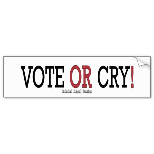 Vote or Cry! Bumper Sticker
