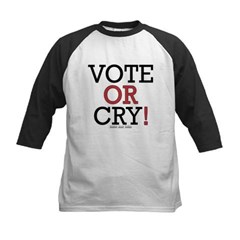 Vote or Cry! Kids Baseball Jersey T-Shirt