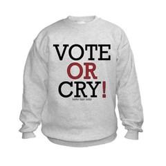 Vote or Cry! Kids Crewneck Sweatshirt by Hanes