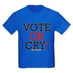 Vote or Cry! Youth Dark T-Shirt by Hanes