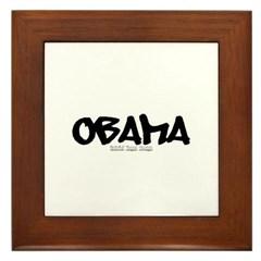 Obama Graffiti Framed Tile