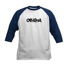 Obama Graffiti Kids Baseball Jersey T-Shirt