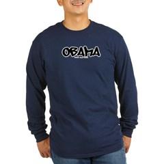 Obama Graffiti Long Sleeve Dark T-Shirt