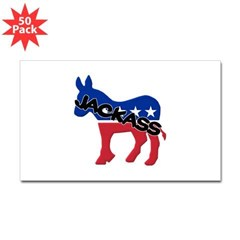 Democratic Jackass Rectangle Decal 50 Pk