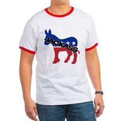 Democratic Party Jackass Symbol Ringer T-Shirt