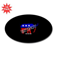 Extinct Republican Oval Decal 10 pack
