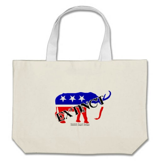 Extinct Republican Party Symbol Jumbo Tote