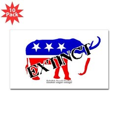 Extinct Republican Rectangle Decal 10 pk